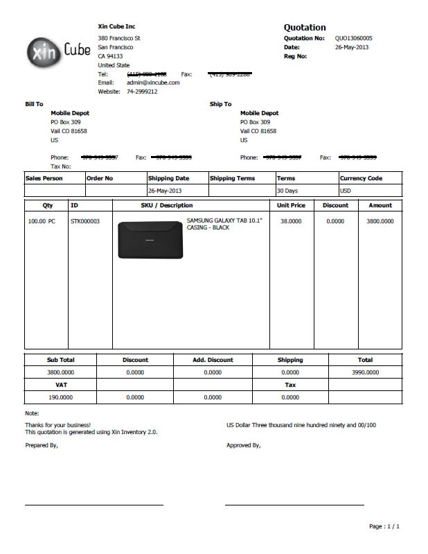 Invoice Software Quotation Template